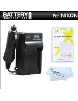 Battery Charger Kit For Nikon Df, D5500, D5100, D5200, D5300, D3300, D3100, D3200 Digital SLR Camera Includes Ac/Dc 110/220 Rapid Travel Charger For Nikon EN-EL14 Battery + LCD Screen Protectors + MicroFiber Cloth