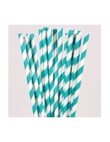 PrettyurParty Striped Paper Straw (Pack of 10) - Teal