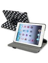 eForCity 360-Degree Swivel Leather Case for Apple iPad mini, Black/White Polka Dot (PAPPIPDMLC56)