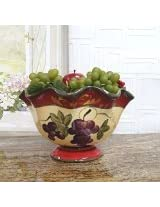 Tuscany Garden Collection Ceramic Grapes Pedestal Fruit Bowl 84081 by ACK