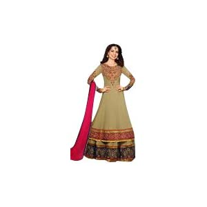 Kangna Ranaut Long Floor Length Brown Top & Pink Dupatta Georgette Top With Santoon Dupatta Resham & Heavy Zari Embroidery Work Unstitched Anarkali Salwar Suit