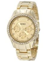 XOXO Womens XO5475 Gold-Tone Rhinestones Accent Bezel Watch