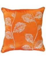 Decorative Silver Leaves Embroidery with Piping Floral Throw Pillow COVER 18 Orange