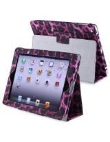 eForCity Leather Case with Stand for Apple iPad 3/4, Black/Purple Leopard (PAPPIPADLC40)