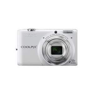 Nikon Coolpix S6500 16MP Point-and-Shoot Digital Camera (White) with 4GB Card, Camera Pouch, HDMI Cable