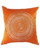Decorative Emboirdery Beads Floral Throw Pillow Cover 18 Orange