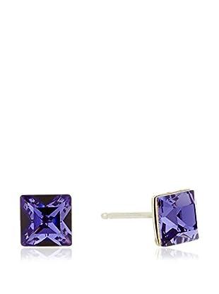 My Silver Pendientes Square Púrpura