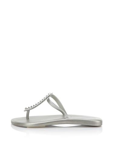 Melissa Women's Sin + Make a Wish Flat Thong Sandal (Silver)