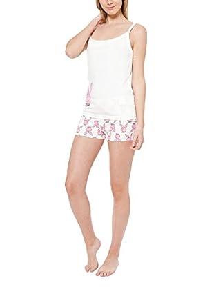 Play Boy Nightwear Pyjama Pink Shorts Bunnies