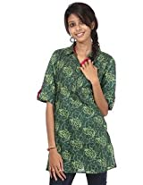 Rajrang Cotton Kurti - PTP00020 (Green, Dark Green)