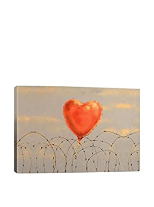 Banksy Barbed Wire Heart Ballon Gallery Wrapped Canvas Print