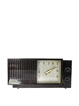 1950s Vintage Silverstone Clock Radio, Black/Silver