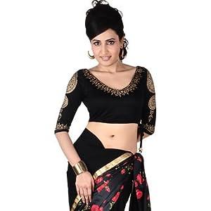 Black 3/4 Sleeves Viscose Saree Blouse