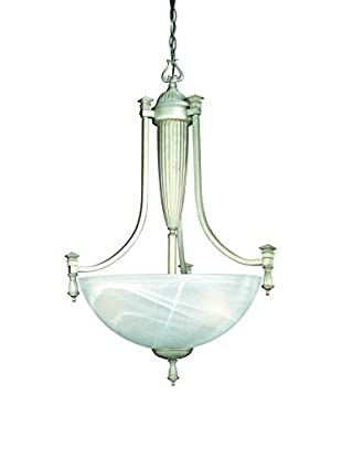 Lite Source Luxor Ceiling Lamp, Aged Silver/Cloud