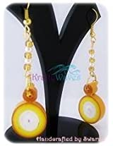 Krafty Waves Paper quilled Earrings - Mustrad, Yellow & White