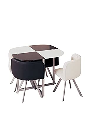 Luxury Home Checkerboard Dining Set, Black/White