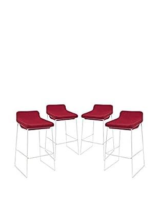 Modway Garner Set of 4 Bar Stools, Red