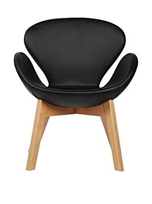 LO+DEMODA Sessel Swan Wood Arms Negro
