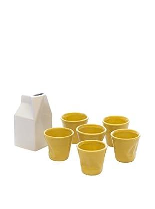 Kaleidos Espresso 7 tlg. Set weiß/gelb