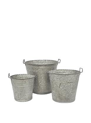 Three Hands Set of 3 Metal Buckets