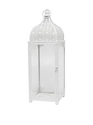 Three Hands Tall Metal Lantern, White