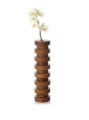 Bahari Teak Wood Ring Vase, Medium Brown