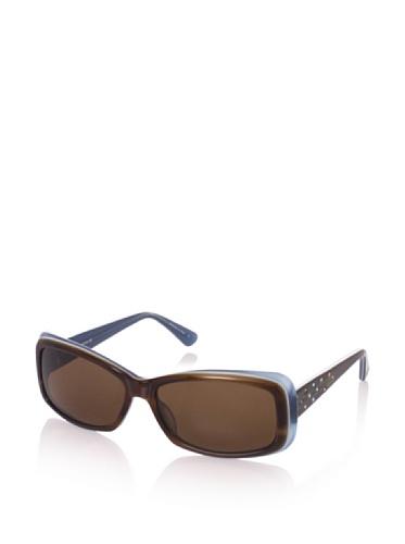 Judith Leiber Women's JL1036A 02 Geo Rectangle Sunglasses (Topaz/Brown)