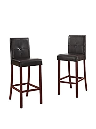 Baxton Studio Set of 2 Curtis Modern Bar Stools, Dark Brown