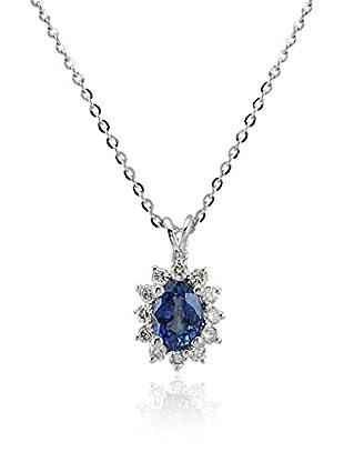 Divas Diamond Collar Diamond Sapphire Gold Plateado