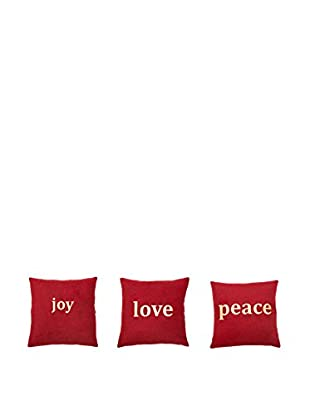 Winward Set of 3 Love, Joy & Peace Pillows, Red