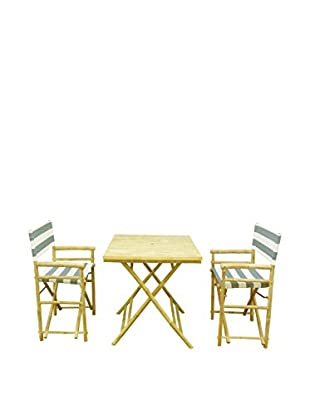 ZEW, Inc. Square Table & Director Chair Set, Navy/White Stripes
