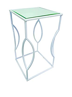 Couture Venice Table, High Gloss White/Clear