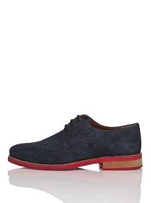 Zerimar Zapatos Oxford Piel Afelpada (Azul Marino)