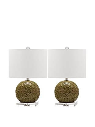 Safavieh Set of 2 Conway Table Lamps, White/Spring Green