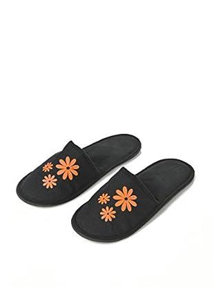 H.Due.O Pantofole Hippy Flowers Arancio