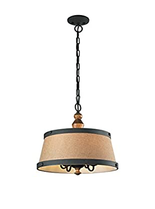 Early American 4-Light Pendant, Colonial Maple/Vintage Rust