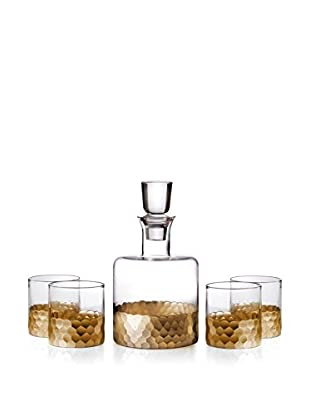Fitz & Floyd Daphne 5-Piece Gold-Tone Whiskey Decanter Set