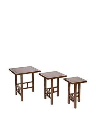 COLONIAL CHIC Tisch 3 tlg. Set braun