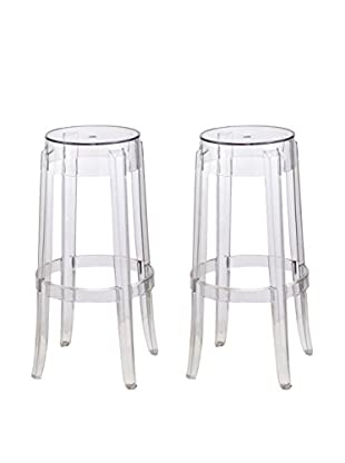 Manhattan Living Set of 2 Clear Bar Stools, Clear