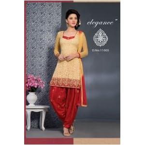 Cream Net Brasso Patiyala Unstitched Dress Material