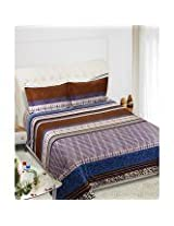 Beautiful Queen Size Bedsheets -Contemporary Design - Brown Color