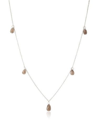 Catherine Angiel Spaced Briolette Necklace, Silver/Smokey Topaz
