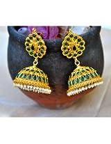 Green Kemp Jhumka Earrings