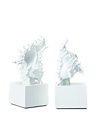 Torre & Tagus Set of 2 Murex Shell Bookends, White