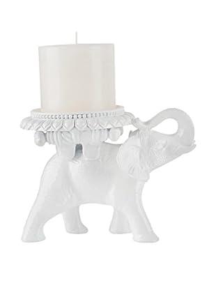 Torre & Tagus Tambo Elephant Pillar Candle Holder, White