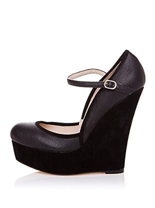 Furiezza Zapatos de Cuña Hebilla (Negro)