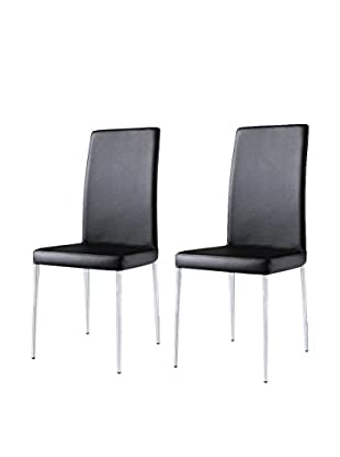 Armen Living Set of 2 Posto Side Chairs, Black