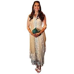Indian Celebrity Designer Flower Net Anarkali Suit