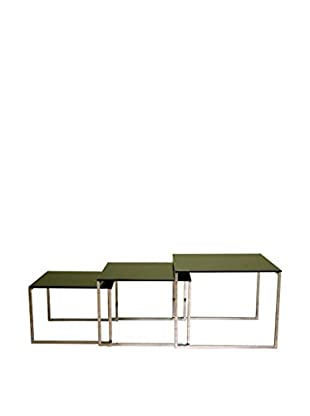 Baxton Studio Romano Black Glass Nesting Tables, Black