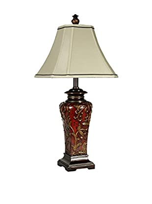 StyleCraft Floral Zoey 1-Light Table Lamp, Crimson/Natural